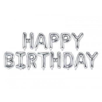Balon foliowy metalizowany srebrny Happy Birthday 340x35cm