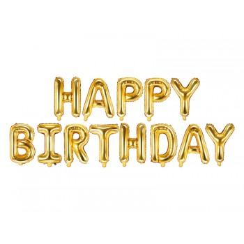 Balon foliowy metalizowany złoty Happy Birthday 340x35cm