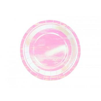 Talerzyki 6szt okrągłe opalizujący 23 cm