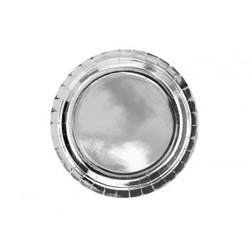 Talerzyki 6szt okrągłe srebrny 23cm