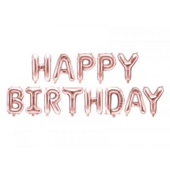 Balon foliowy metalizowany różowe złoto Happy Birthday 340x35cm