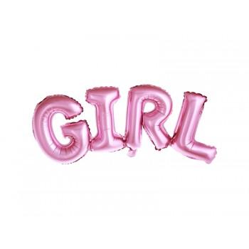 Balon foliowy metalizowany różowy Girl 74x33cm
