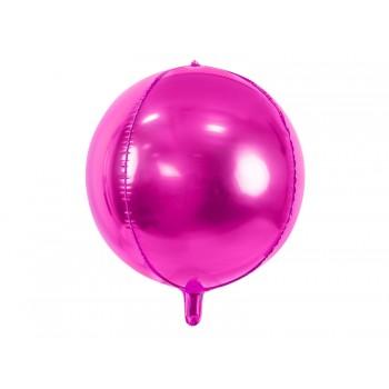Balon foliowy metalizowany ciemny różowy Kula 40cm