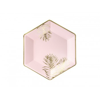 Talerzyki Liście 6szt jasny różowy 23cm