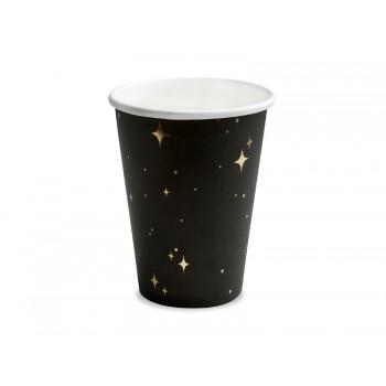 Kubeczki 6szt złote gwiazdki czarny, 260 ml