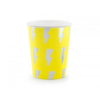Kubeczki 6szt Electric Holo neonowy żółty, 260ml
