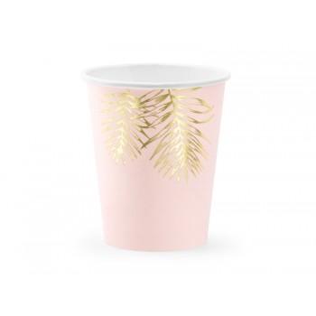 Kubeczki Liście 6szt jasny różowy, 220ml