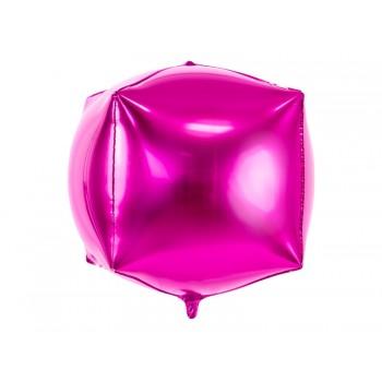 Balon foliowy metalizowany ciemny różowy Sześcian 35x35x35cm