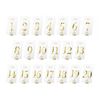 Transparentne numery na stół 20szt - złoty 7x12cm