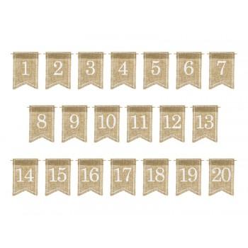 Jutowe numery na stoł 20szt - biały, 7x10,5cm