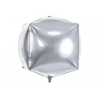 Balon foliowy metalizowany srebrny Sześcian 35x35x35cm