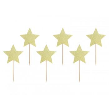 Gwiazdki 6szt złote do muffinek