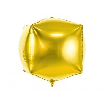 Balon foliowy metalizowany złoty Sześcian 35x35x35cm