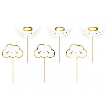 Chmurki i Skrzydła - dekoracje do muffinek 6szt - 12,5cm