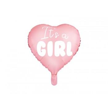 Balon foliowy pastelowy jasny różowy Serce - It's a girl, 45cm