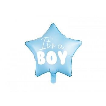 Balon foliowy pastelowy jasny niebieski Gwiazdka - It's a boy 48cm