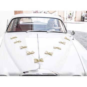 Jutowe kokardki - dekoracja samochodowa