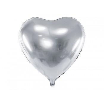 Balon foliowy metalizowany srebrny Serce 61cm