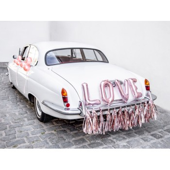 Zestaw dekoracji samochodowych - Love, różowe