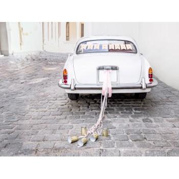 Zestaw dekoracji samochodowych - Mąż Żona, jasny różowy