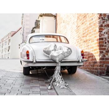 Zestaw dekoracji samochodowych - Serca, srebrny