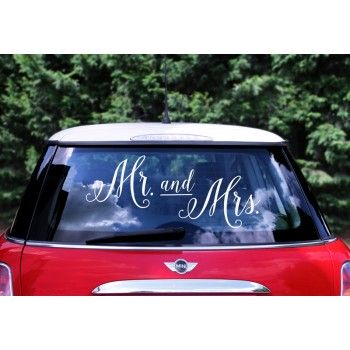 Mr. and Mrs. - Naklejka ślubna na samochód