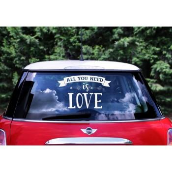 All you need is love - Naklejka ślubna na samochód