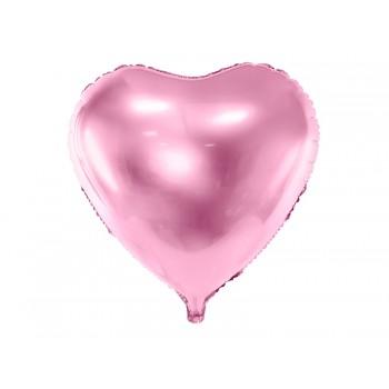 Balon foliowy metalizowany jasny róż Serce 61cm