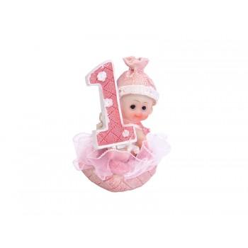 Figurka Dziewczynka 1 Urodziny różowy 7cm
