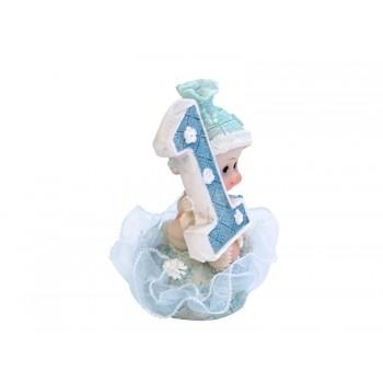 Figurka Chłopiec 1 Urodziny niebieski 7cm