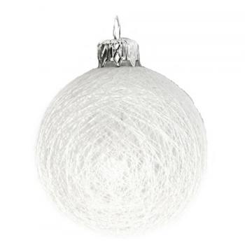 Bombka 8cm cotton balls biała