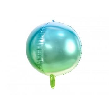 Balon foliowy metalizowany niebiesko-zielony Kula ombre 35cm