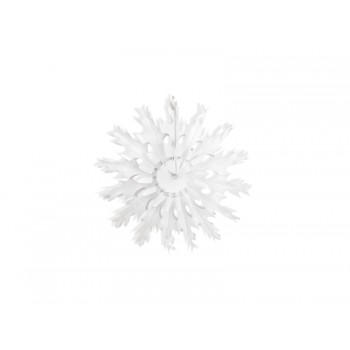 Rozeta 25cm Śnieżynka bibułowa biała