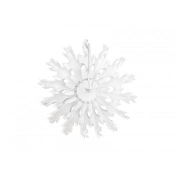 Rozeta 37cm Śnieżynka bibułowa biała