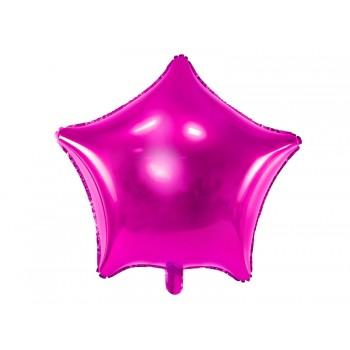 Balon foliowy metalizowany ciemny różowy Gwiazdka 48cm