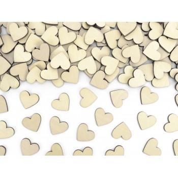Drewniane konfetti Serca, 2x2cm