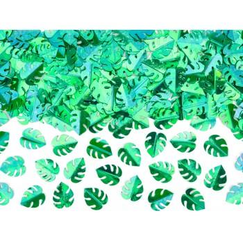 Konfetti metalizowane Liście, zielony 15g