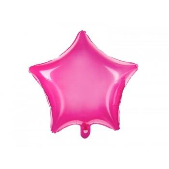 Balon foliowy neonowy różowy Gwiazdka 48cm