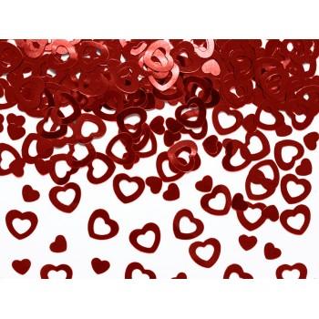 Konfetti metalizowane Serca, czerwone 15g