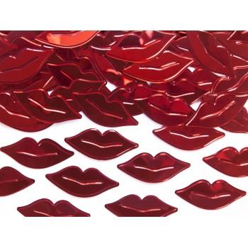 Konfetti metalizowane Usta czerwone 15g