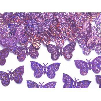 Konfetti holograficzne Motyle jasny róż