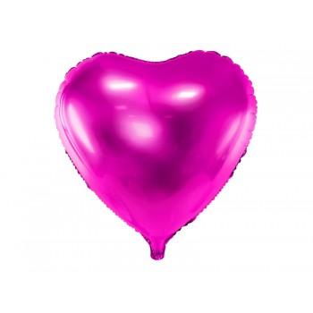 Balon foliowy metalizowany ciemny różowy Serce 45cm