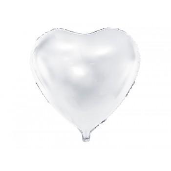 Balon foliowy metalizowany biały Serce 45cm