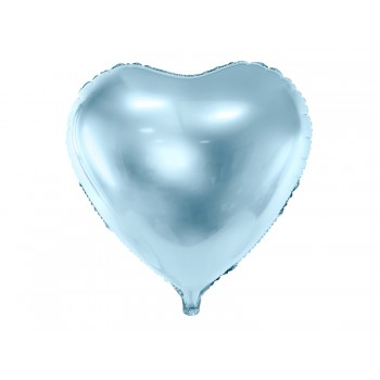 Balon foliowy metalizowany błękitny Serce 45cm