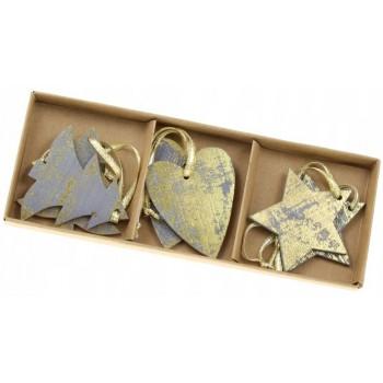Zawieszki 6szt świąteczne drewniane, szaro-złote