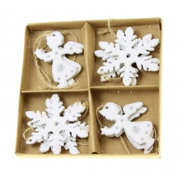 Zawieszki 8szt świąteczne drewniane białe, aniołki i śnieżynki