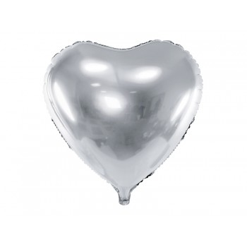 Balon foliowy metalizowany srebrny Serce 45cm