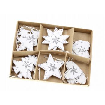 Zawieszki 12szt świąteczne drewniane białe