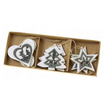 Zawieszki 6szt świąteczne drewniane biało-szare