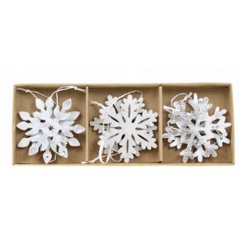 Zawieszki 6szt świąteczne drewniane śnieżynki